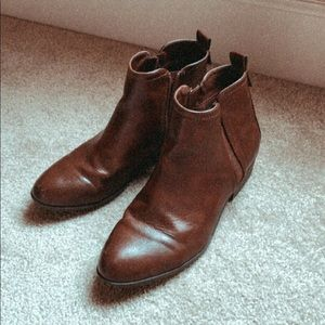 Michael Shannon brown leather booties